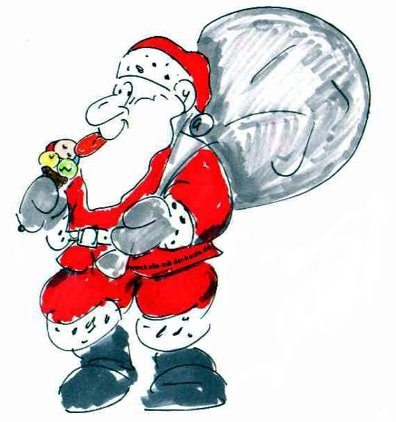 Weihnachtsmann mit Eis
