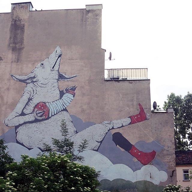 #Breslau in #Polen / #Polska / #Wrocław Die großen Wandbilder (#Murales / #Graffiti) lassen sich in Breslau sogar mit Hinweisschildern finden. Naja, ist ja auch zur Zeit #Kulturhauptstadt #Europa#streetartpoland#Schwein mit #Quetschkommode